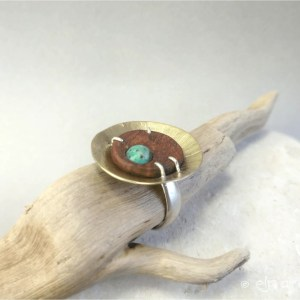 Unique ring made with wood, african turquoise, brass and silver by Eliz'art