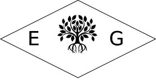 Poinçon de maître de l'artiste Eliz'art, un arbre de vie et les initiales EG