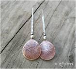 Boucles d'oreilles en argent 925 et cuivre texturés par Eliz'art