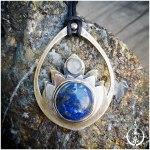 Pendentif harmonisant en laiton, argent 925, lapis lazuli et labradorite blanche (pierre de lune arc-en-ciel). Bijou de lithothérapie par elizart