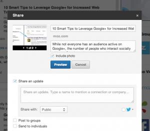 LinkedIn shares aanpassen