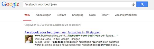 voorbeeld zoekresultaat SEO