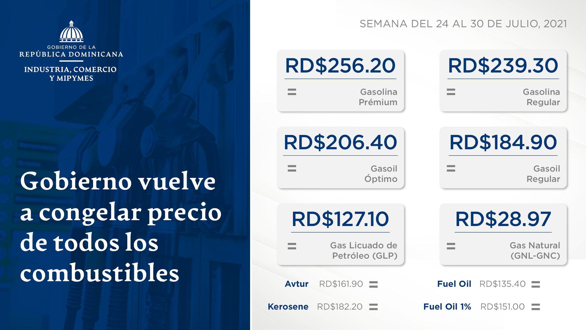 Precios de los combustibles para la semana del 24 al 30 de julio 2021. Billete con signo de dólar La tasa de cambio promedio ponderada por el @bancocentralrd : RD$57.20.