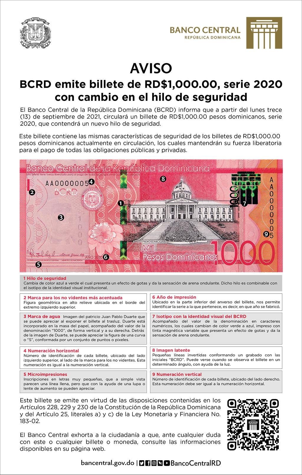 Este billete se emite en virtud de las disposiciones contenidas en los artículos 228, 229 y 230 de la Constitución de la República Dominicana y del artículo 25, literales a) y c) de la Ley Monetaria y Financiera nº183-02.