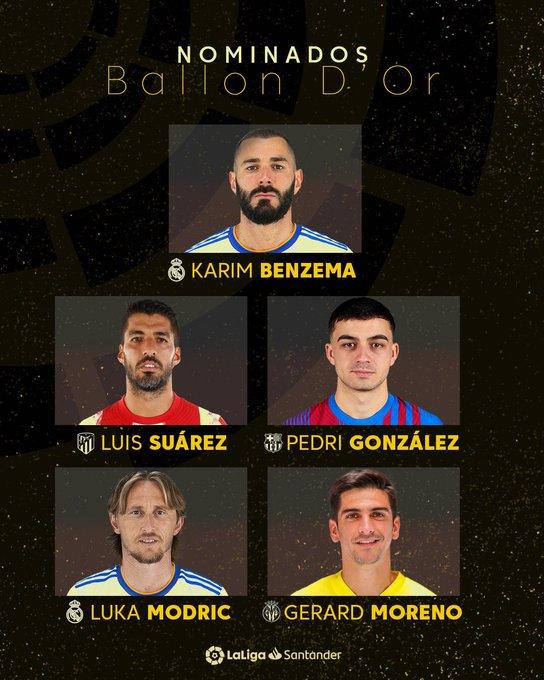 Nominados al balón de Oro. Karim Benzema y Luka Modrić (Real Madrid), Luis Suárez (Atlético de Madrid), Gerard Moreno (Villarreal CF)