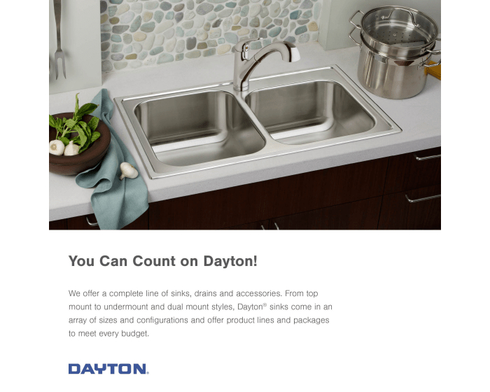 dayton stainless steel 33 x 22 x 8 equal double bowl dual mount sink