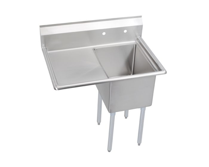 elkay dependabilt stainless steel 38 1 2 x 29 13 16 x 43 3 4 16 gauge one compartment sink w 18 left drainboard and stainless steel legs