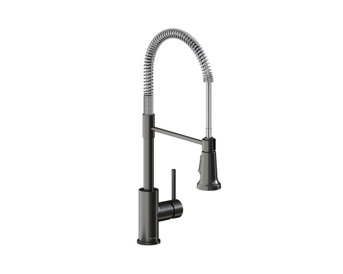 elkay avado single hole kitchen faucet with semi professional spout and lever handle black stainless and chrome