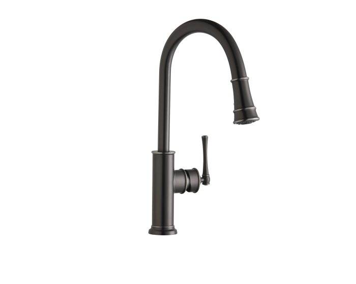 elkay explore single hole kitchen faucet with pull down spray and forward only lever handle antique steel