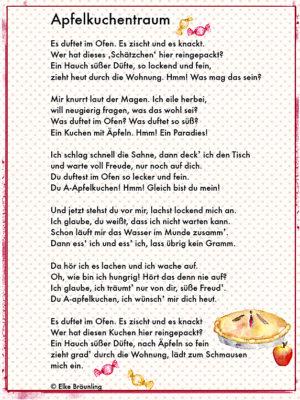 Apfelkuchentraum Ein Gedicht fr Naschkatzen und Trumer