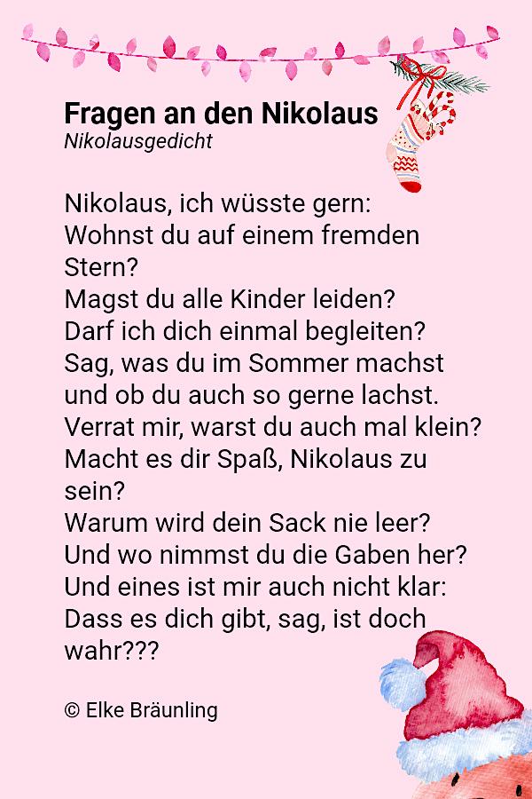 Fragen an den Nikolaus. Nikolausgedicht.