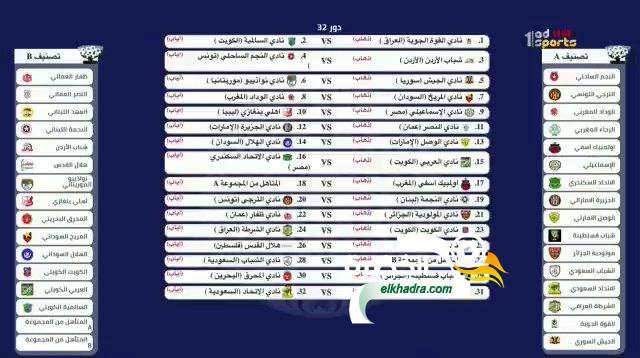 قرعة دور الـ32 من البطولة العربية 26