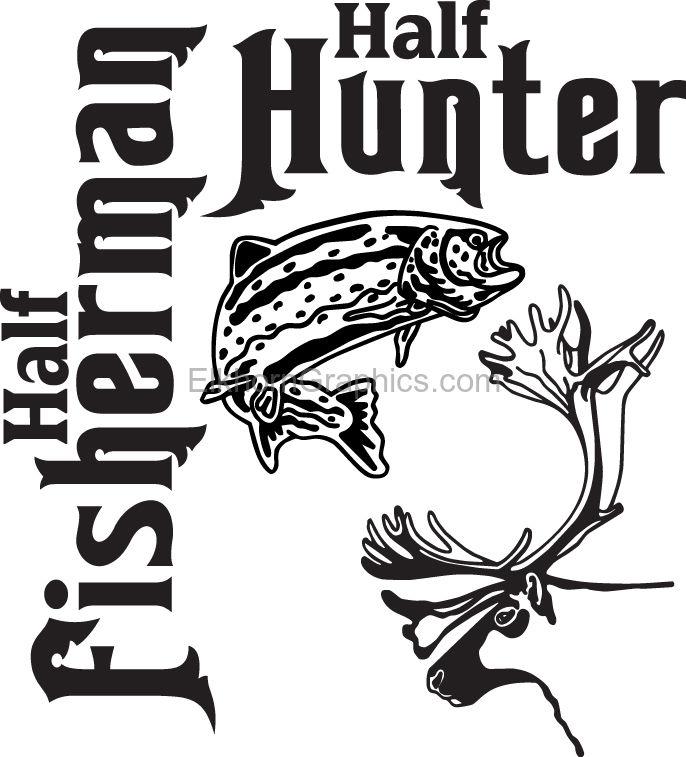 Half Fisherman Half Hunter Salmon Fishing Sticker 2