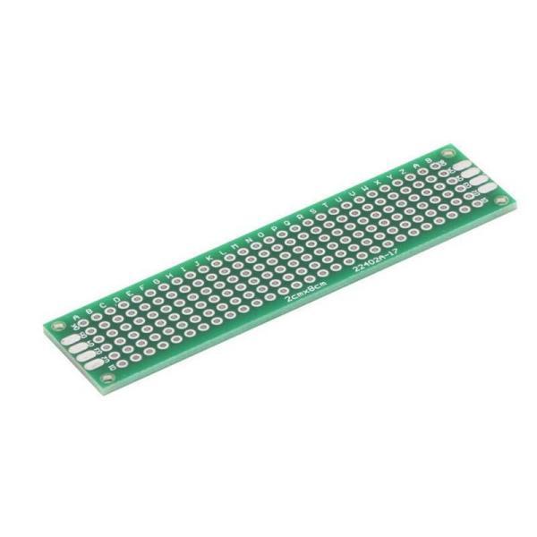 Dobbeltsidig prototype PCB kort 2x8 cm / 20mm x 80mm
