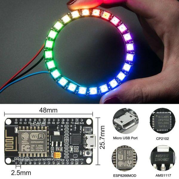 Arduino IDE starter kit med blant annet LED-ring, IR og andre sensorer - NodeMCU/ESP8266 KITled05