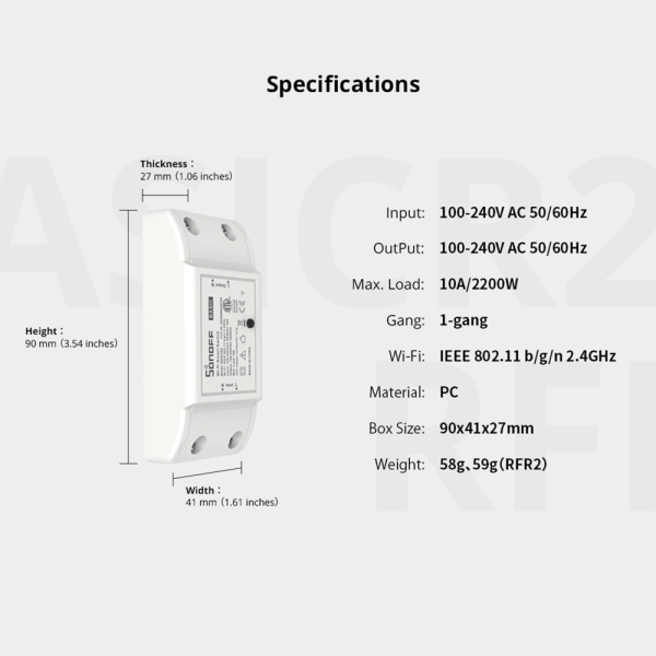 Sonoff BASICR2 Smart Home WiFi Wireless Switch relemodul rele Apple Android APP Control SONOFF22001