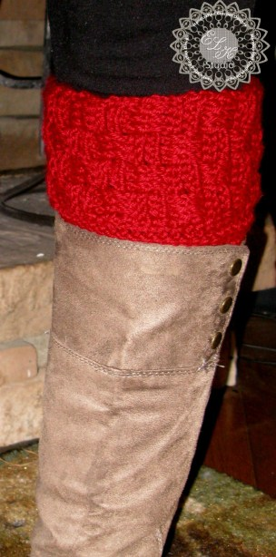 Free Basketweave Boot Cuff pattern by ELK Studio