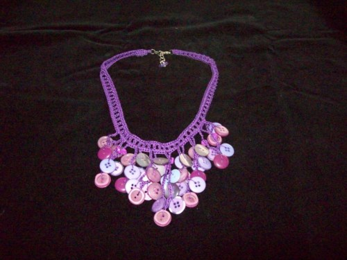 Crochet Button Necklace, purple mixed.1 ($18.00)