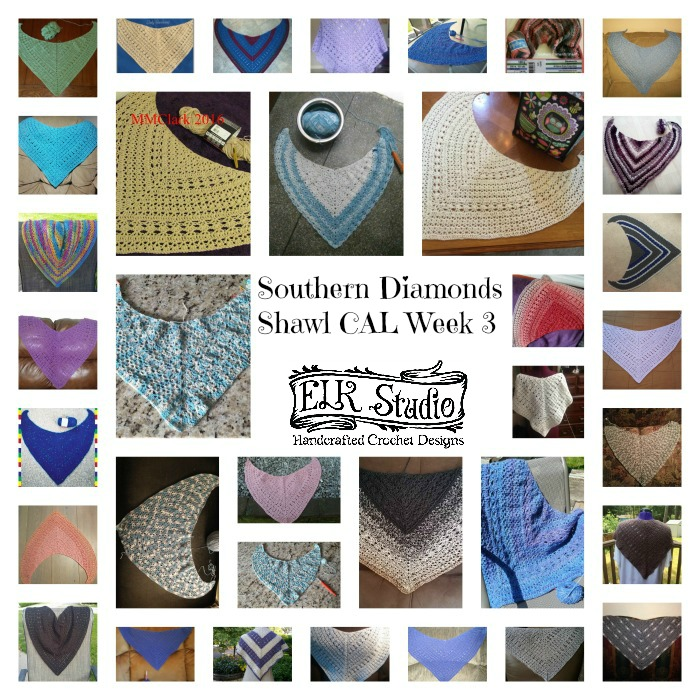Southern Diamonds Shawl CAL Week 3 Collage 2 by ELK Studio