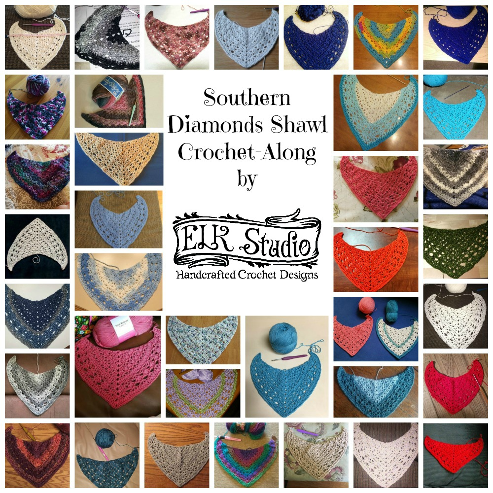 Southern Diamonds Shawl Collage 3 by ELK Studio