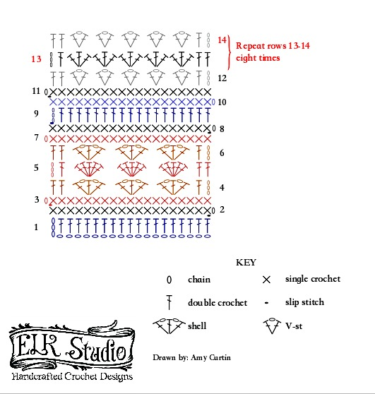 Part 2 Stitch Diagram of the Southern Diamonds Wrap Left-handed