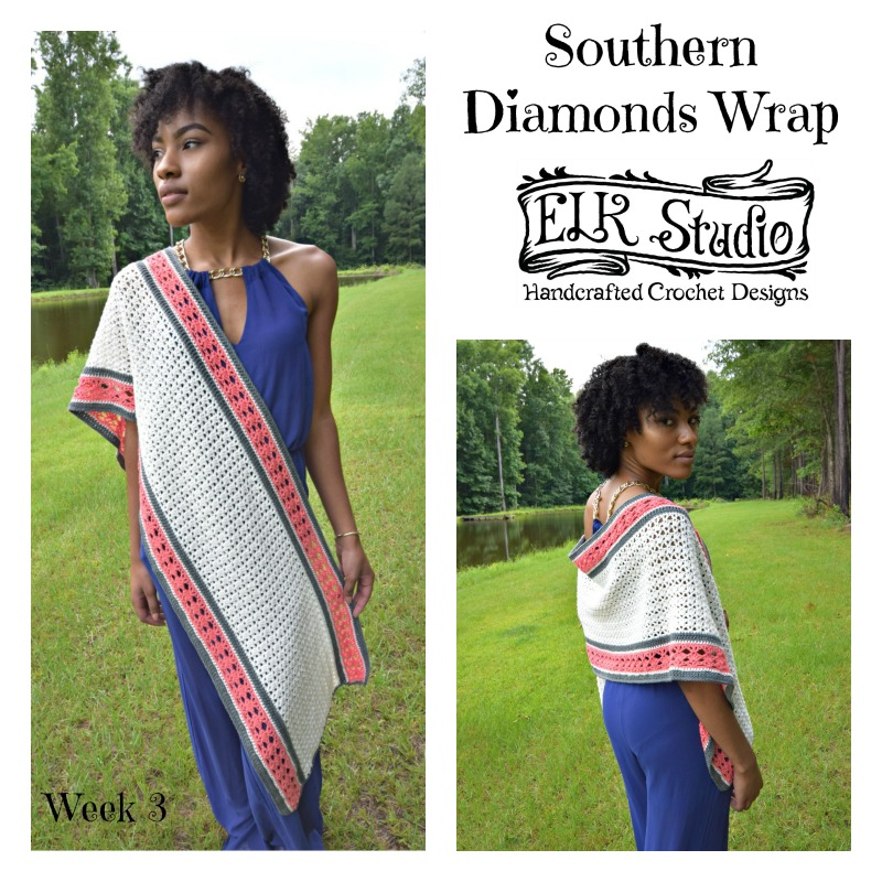 Southern Diamonds Wrap by ELK Studio - A Free Crochet Pattern Week 3