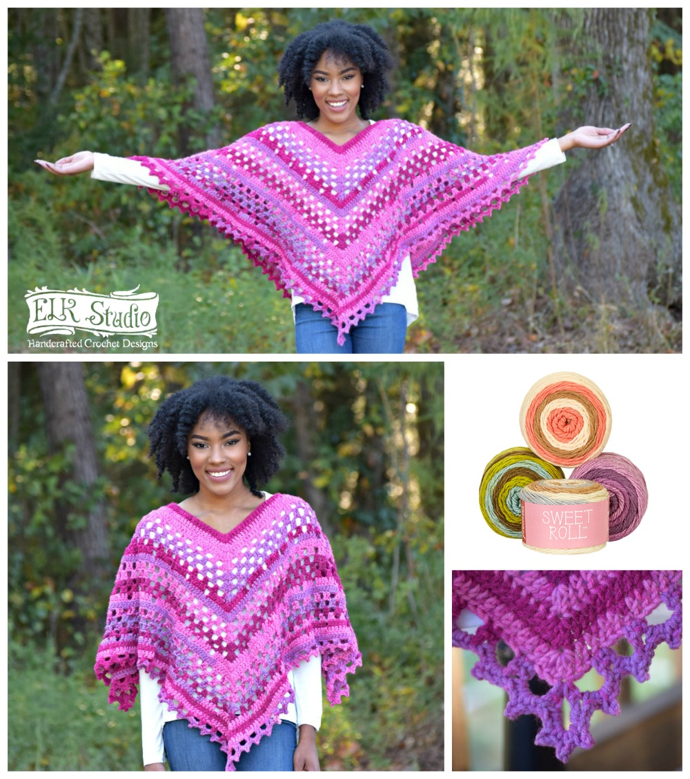 Crochet Patterns Using Sweet Roll Yarn : The Dixie Charm Poncho - ELK Studio - Handcrafted Crochet Designs