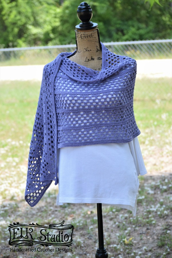 Dixie Charm Wrap Full View Free Crochet Pattern by ELK Studio