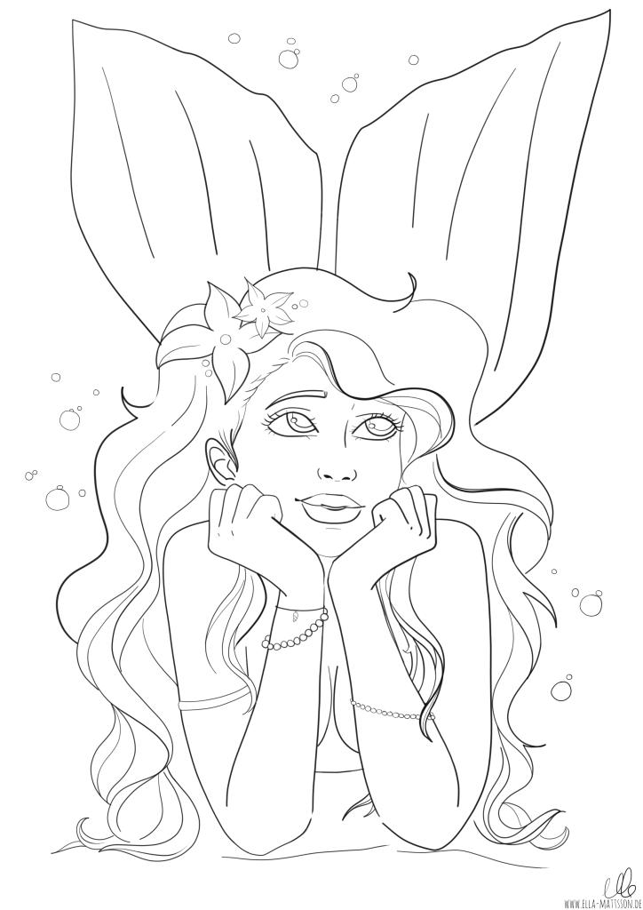 Lila meerjungfrau ausmalbild