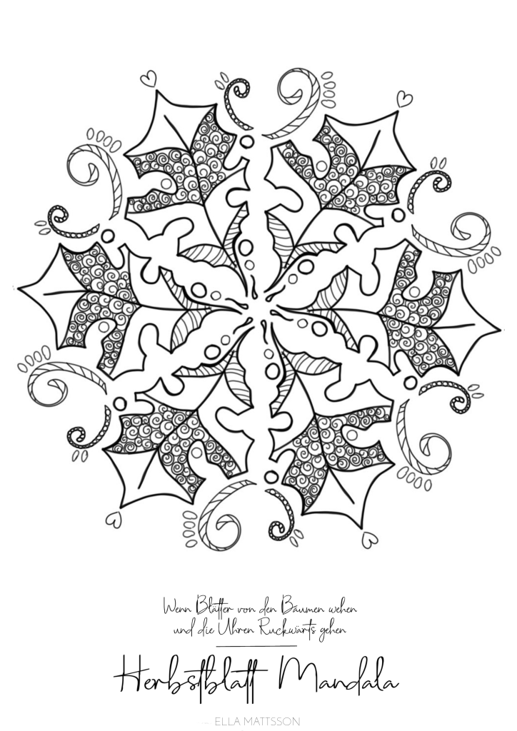 herbstblatt mandala ausmalbild