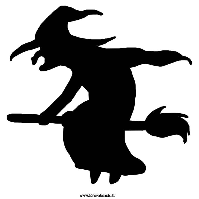 Hexe auf Besen halloween