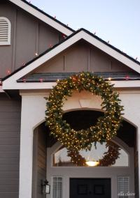 How to Hang a Giant Outdoor Christmas Wreath - Ella Claire