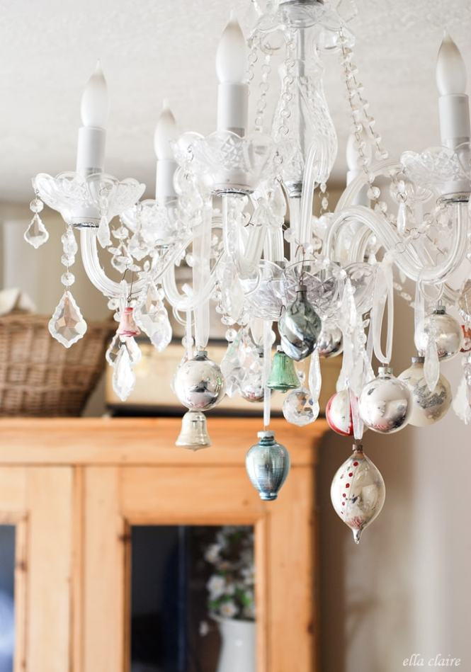 I Love This Idea Of Putting Vintage Christmas Ornaments On A Chandelier