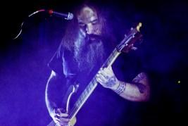 Sleep bass player Al Cisneros performs at the Deportivo Lomas Altas field in Mexico City, Mexico on Saturday, March 3.