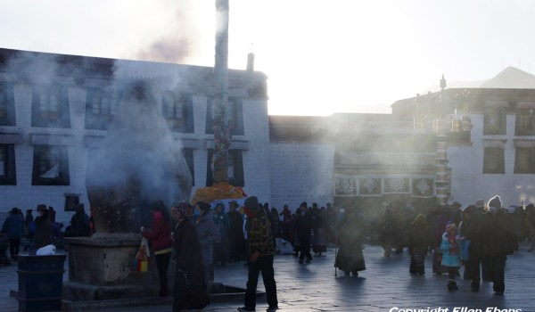 Lhasa: the Jokhang Temple at sunrise on a cold winter day