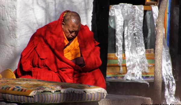 Special ceremony at Sera Monastery, Lhasa: the baktsamaku (discipline monk) sitting and watching the ceremony