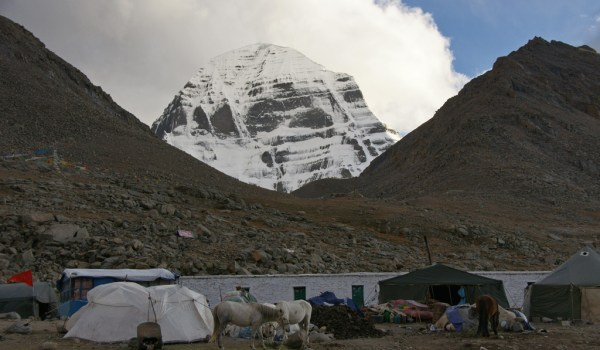 Day 1 of the kora: the guesthouse at an altitude of about 5.000m with the north face of Mount Kailash at the background. Resting and sleeping time after a long day walking (2011)