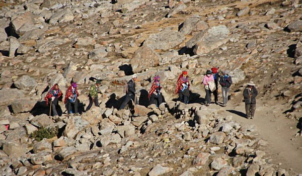 Day 2 of the kora: pilgrims ascending to Drolma La pass (2011)