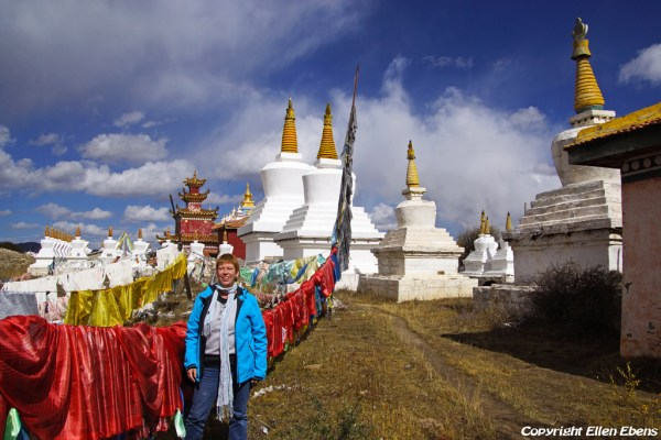 Stupas and prayer flags at Waqie.