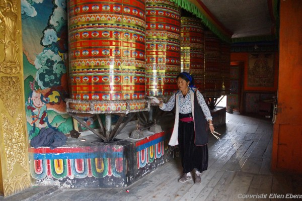 Big prayer wheels at the monastery high above the town of Guanyinqiao
