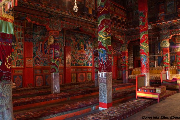 Inside one of the prayer halls at Dagzha Monastery at Zoige