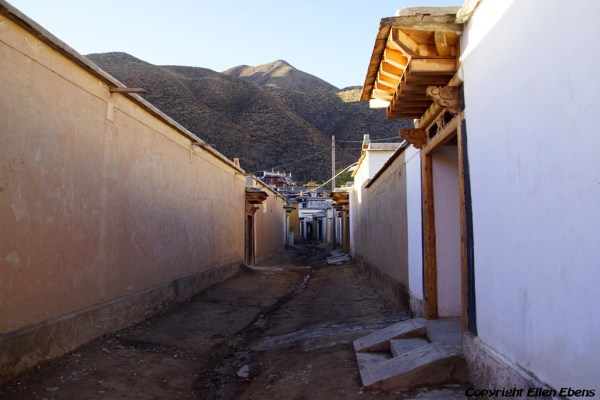 Labang Monastery, Xiahe: street with the monks houses