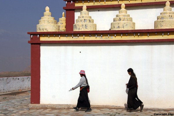 Pilgrims walking a kora around the stupa of a new monastery near the village of Langjiacun (in the vicinity of Rebkong)