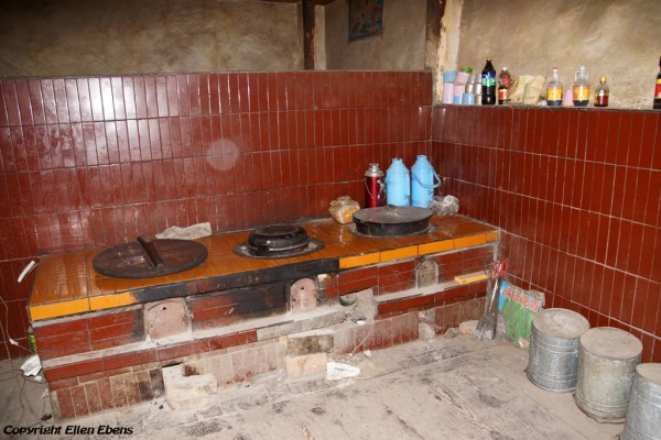 The kitchen inside the birth house of the 10th Panchen Lama in the little village of Mari