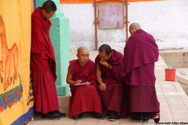 Monks at Wutun Monastery, Rebkong (Tongren)