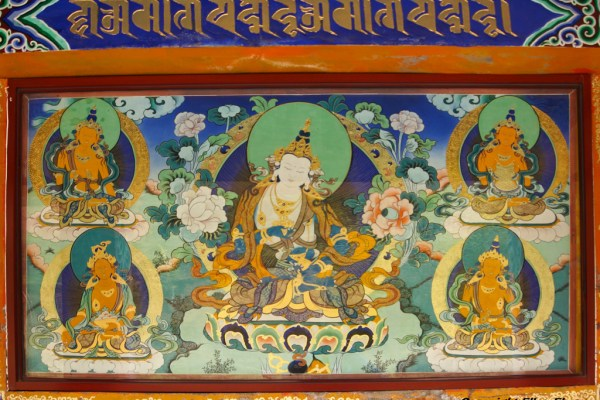 Wall painting at a stupas of Wutun Monastery, Rebkong (Tongren)