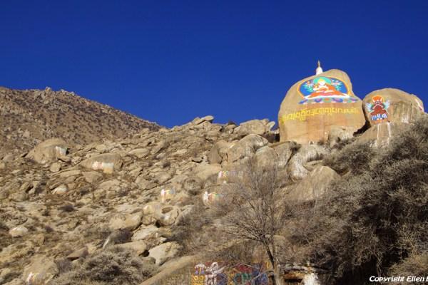Lhasa, rock paintings at Drepung Monastery