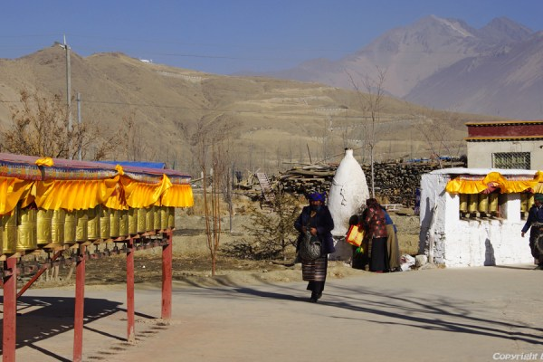 Pilgrims at small monastery near Gonkar Airport