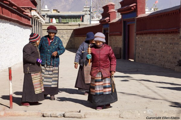 Pilgrims to Zhatang Monastery. This monastery is located about halfway from Gonkar Airport to the city of Tsedang