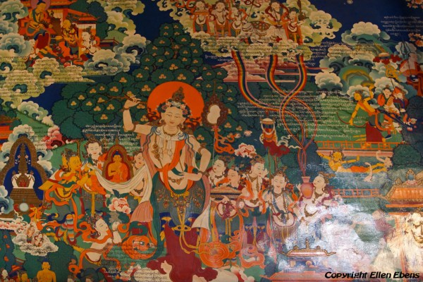 Murals Inside Thandruk Monastery. On this mural the birth of the Buddha is depicted.